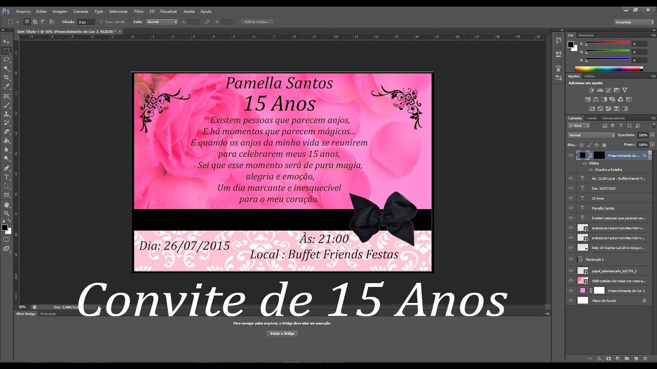 Convite De Aniversario Evangelica Para 15 Anos: Efeito Convite De 15 Anos Adobe Photoshop
