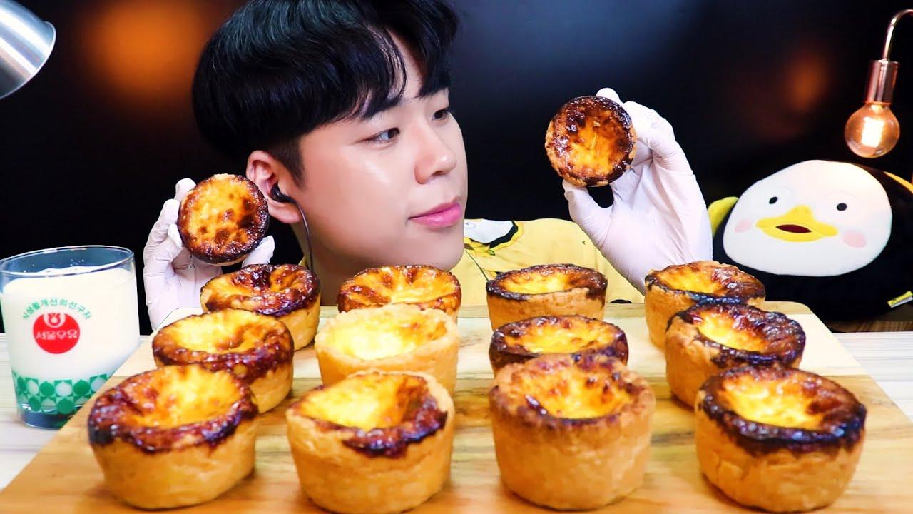 ASMR 뚱뚱한 에그타르트 먹방 리얼사운드 Egg tart MUKBANG DESSERT REAL SOUND