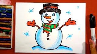 Как нарисовать СНЕГОВИКА на Новый год / Урок рисования для детей