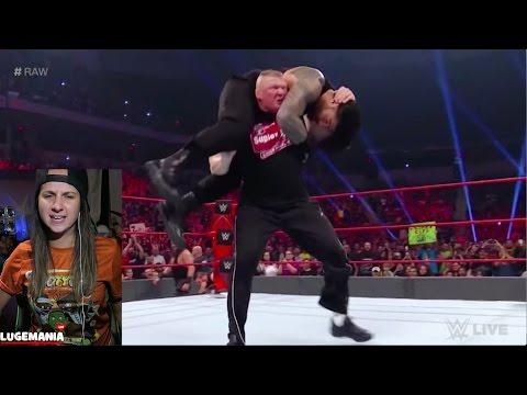 WWE Raw 1/16/17 Brock Lesnar F5s Roman...