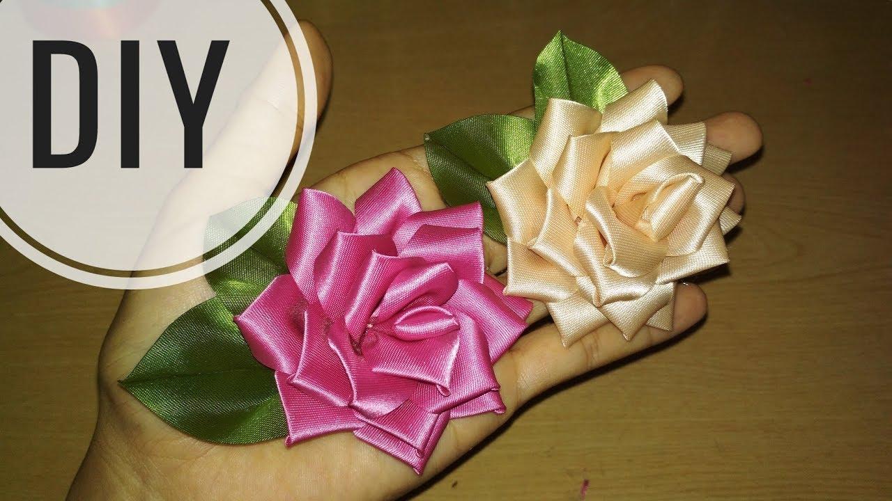 DIY    Membuat Bunga Mawar Satin Pita/ Ribbon Flower rose 20 ...