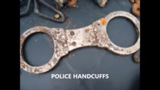 POLICE HANDCUFFS,NUMBER PLATE, + MANY MORE ITEM'S magnet fishing