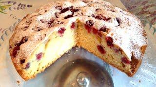 Обалденно вкусный бисквит-пирог с малиной