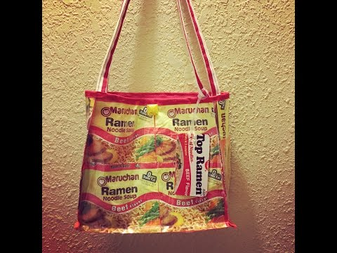 DiY tutorial on how to make a tote from ramen noodle packets