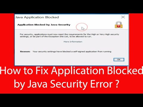 How To Fix -Application Blocked By Java Security Error  In Java 8?