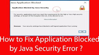application blocked by java security windows 7!application blocked for security