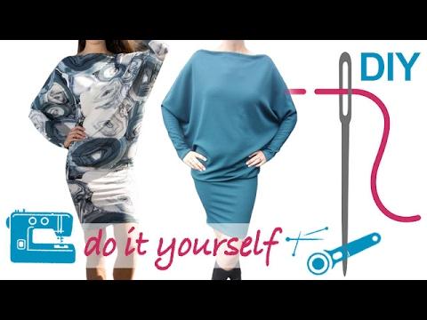 DIY Kleid nähen für Anfänger – Kleid mit Fledermausärmeln ...