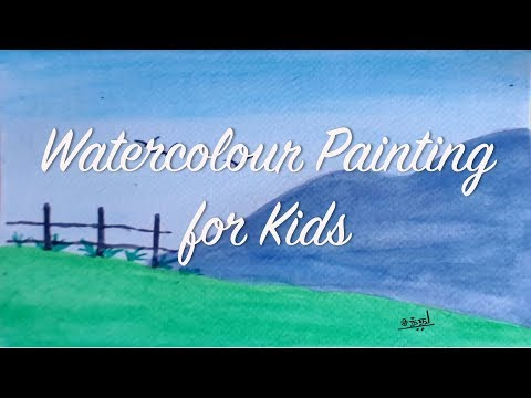 Simple watercolour landscape | Kids paintings | BooBooPaintz