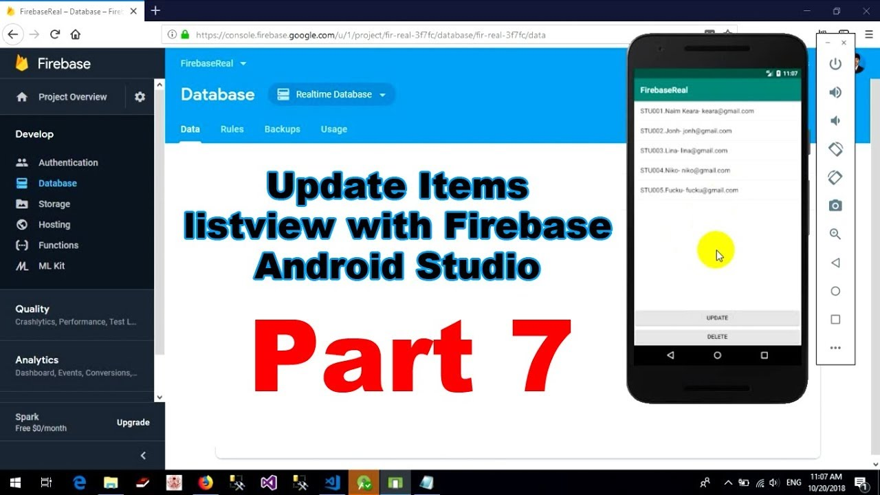 How to update items in listview from firebase with Android Studio - Part 7