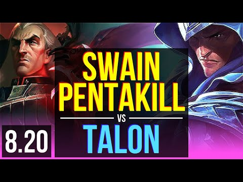 SWAIN vs TALON (MID) | Pentakill, KDA 19/2/8, Legendary | Korea Diamond | v8.20
