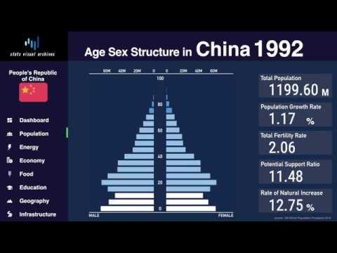 China - Changing Of Population Pyramid & Demographics (1950-2100)