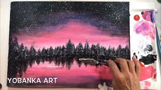 Playa nocturna pintura