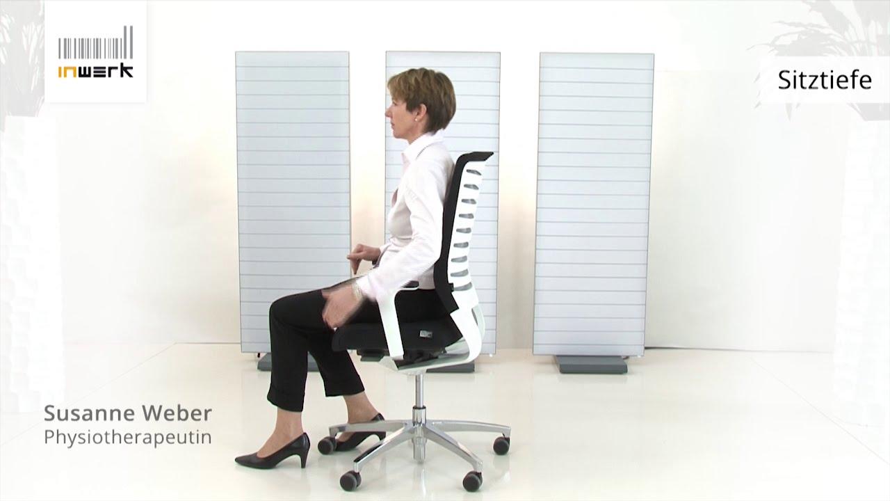 Bürostuhl ergonomisch einstellen  Bürostuhl-Sitztiefe richtig einstellen - Inwerk Ergonomie Berater ...