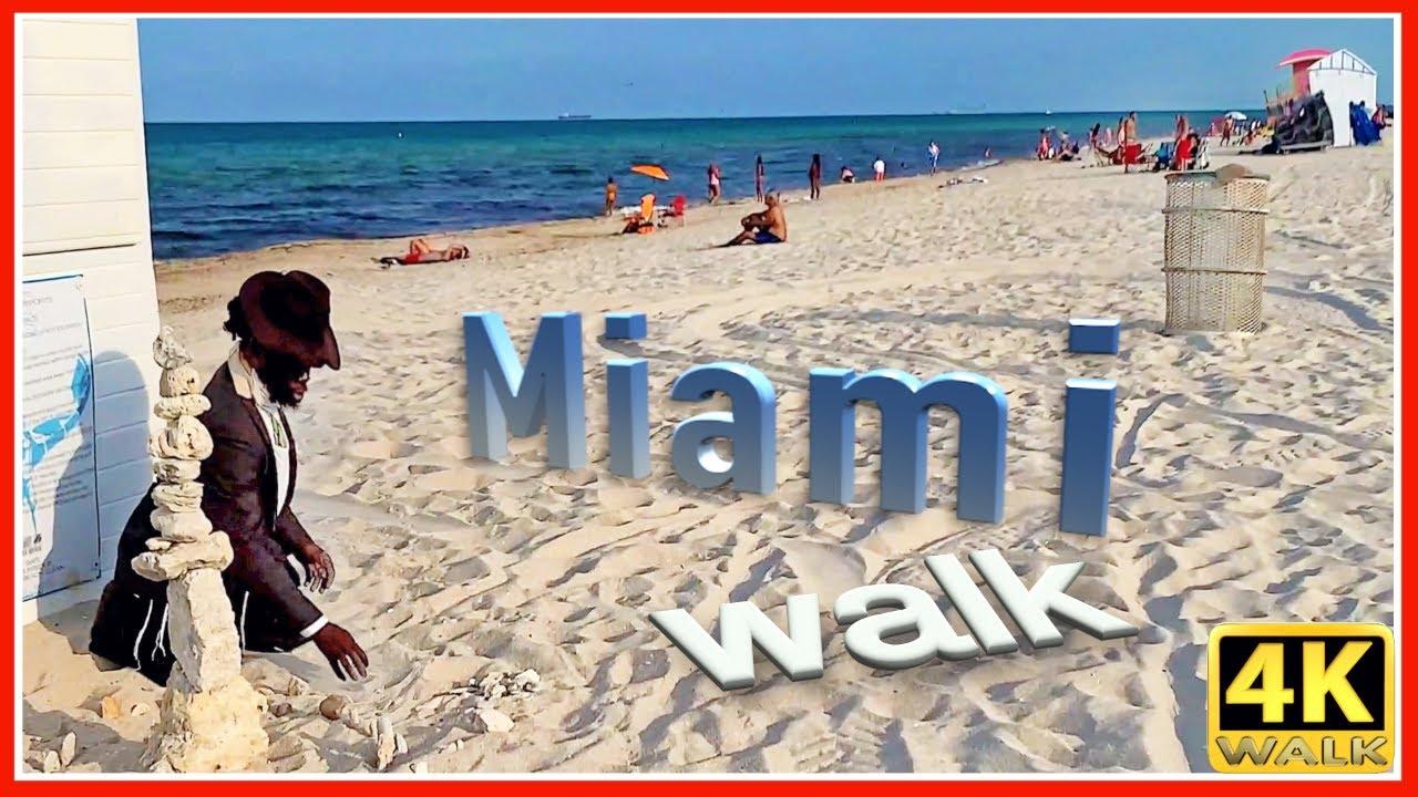 【4K】WALK North MIAMI BEACH 4K video HDR SLOW TV Travel vlog