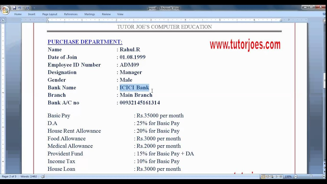 Payroll in Tally Tamil Part-1