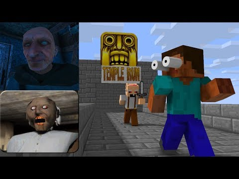 Monster School: TEMPLE RUN CHALLENGE+GRANDPA+GRANNY HORROR GAMES - Minecraft animation