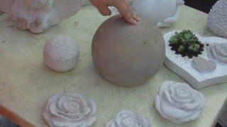 Gartendeko - 25 cm Beton Kugel Gartenkugel in einem Ball giessen