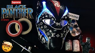 [must See!] I Paint A Crazy Supreme Theme On This Black Panther Full Replica Mask!!!