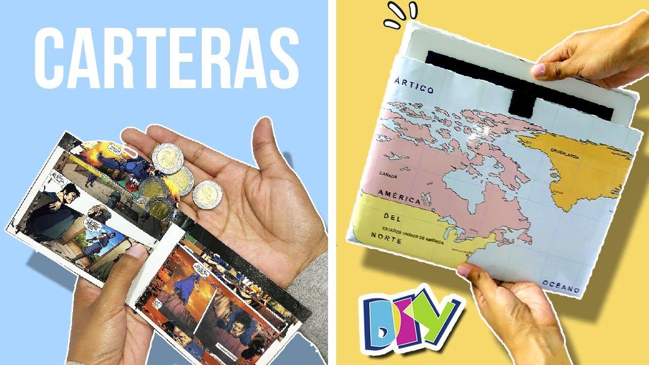 6e7452a08 ¡¡Haz CARTERAS de PAPEL!! * BILLETERA de Cómic y FUNDA de Mapa FÁCIL 🗺  Manualidades de RECICLAJE