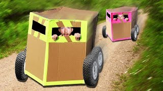 Mobile Box Fort Downhill Race! *GONE WRONG*
