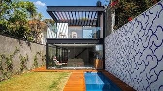 Diseño de casa larga y angosta [Planos, fachada e interiores]