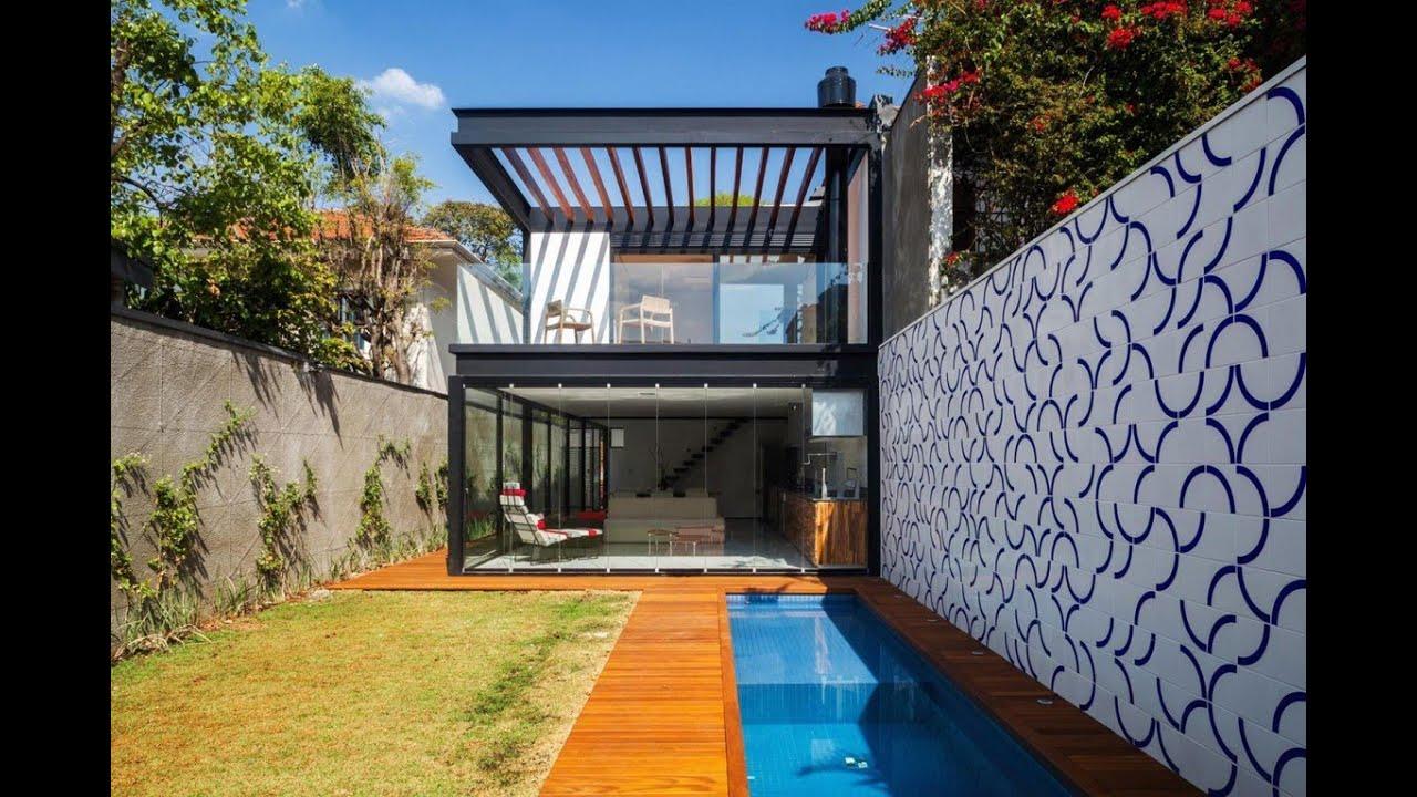 Dise o de casa larga y angosta planos fachada e for Diseno de piscinas para casas de campo