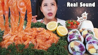 [Sub]/Real Sound/ [ Giant salmon noodles ] [ Giant salmon roll ]  /Mukbang eating show