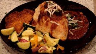 62. Southwest Rojo Chicken, Yam Fritters, Sauteed Veggies, Southwest Chili Con Queso