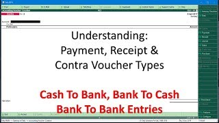 Cash and Bank Voucher Entries - Contra Voucher in Tally ERP 9 Tutorial - Lesson 4