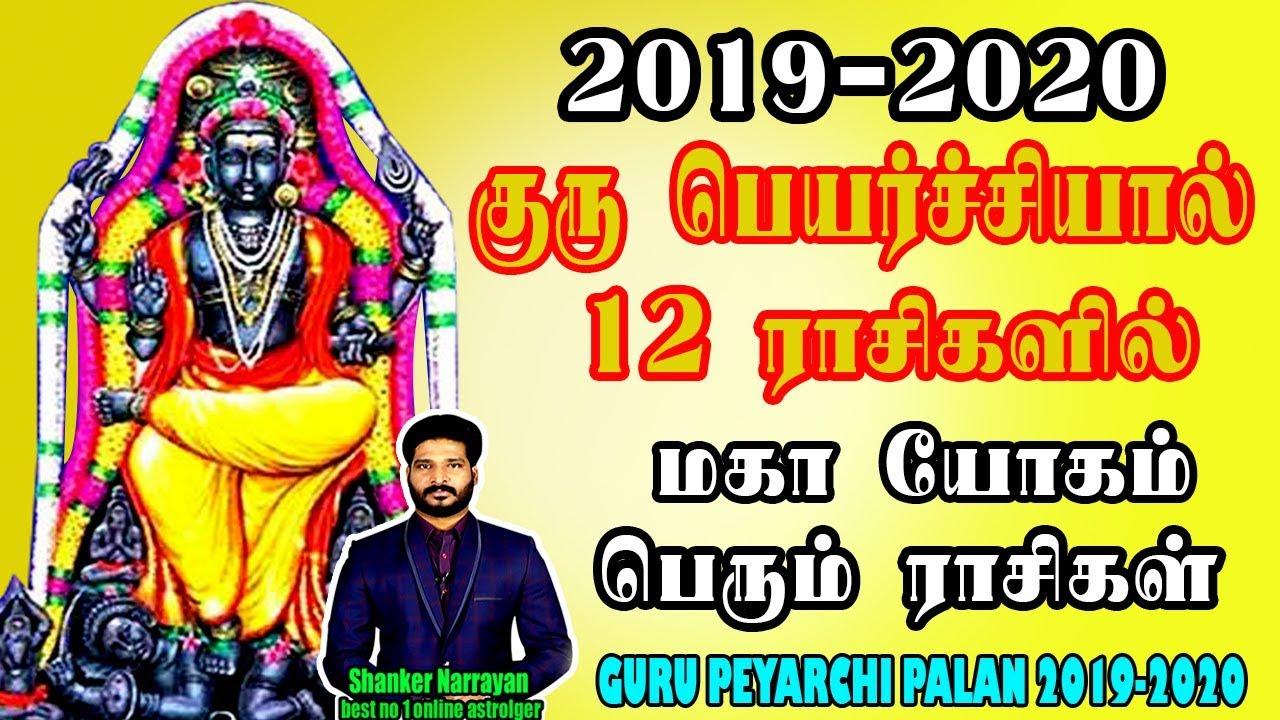 Guru peyarchi palan 2019 in tamil | குரு பெயர்ச்சி 2019-2020 | 12 ராசிகளில்  மகாயோகம் பெரும் ராசிகள்