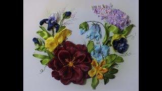 С чего начать вышивку лентами как тонировать фон прямой стежок вышиваем пышный цветок и бабочку 1ч