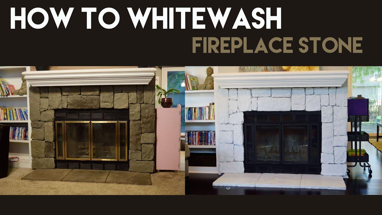 How to Whitewash Fireplace Stone  YouTube