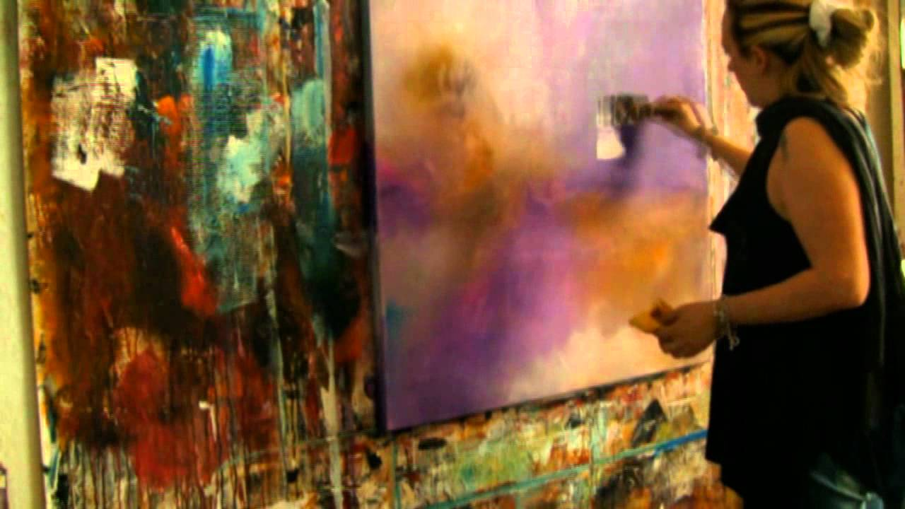 Abstract acrylic painting , abstrakte Acrylmalerei Demo ...