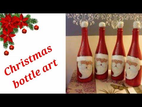 Christmas Bottle Art Simple And Easy Bottle Craft Bottle Diys Best Out Of Waste Bottle Paintings Youtube
