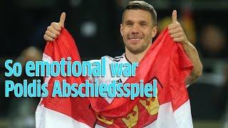 Lukas Podolskis Abschiedsspiel von der Nationalmannschaft: Deutschland gegen England