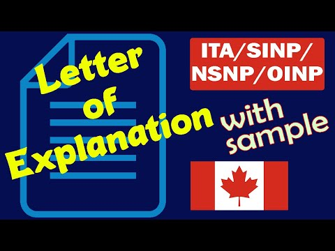 Letter Of Explanation (LOE) For Canada Immigration   Express Entry (ITA), SINP, OINP.