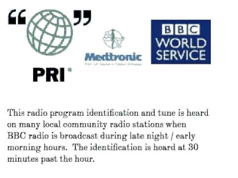 PRI BBC Worldservice program identification bottom of the hour tune