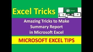 Amazing Tricks to Make Summary Report in Microsoft Excel : Excel Tricks | Urdu / Hindi