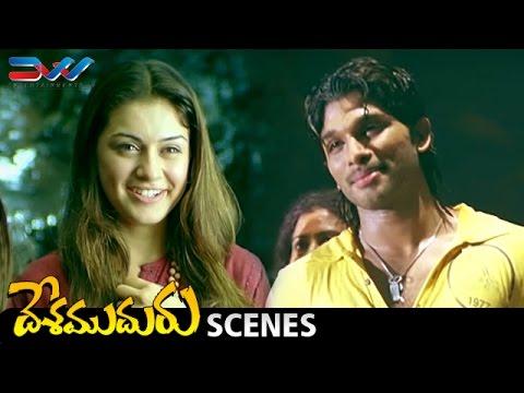 Allu Arjun Crazy Dance   Hansika Confesses Love to Allu Arjun   Desamuduru Telugu Movie Scenes