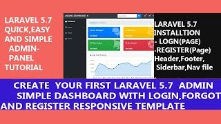 Create Laravel 5.7 Admin Panel( Login,Register,Forget  Page With Custom Template    )