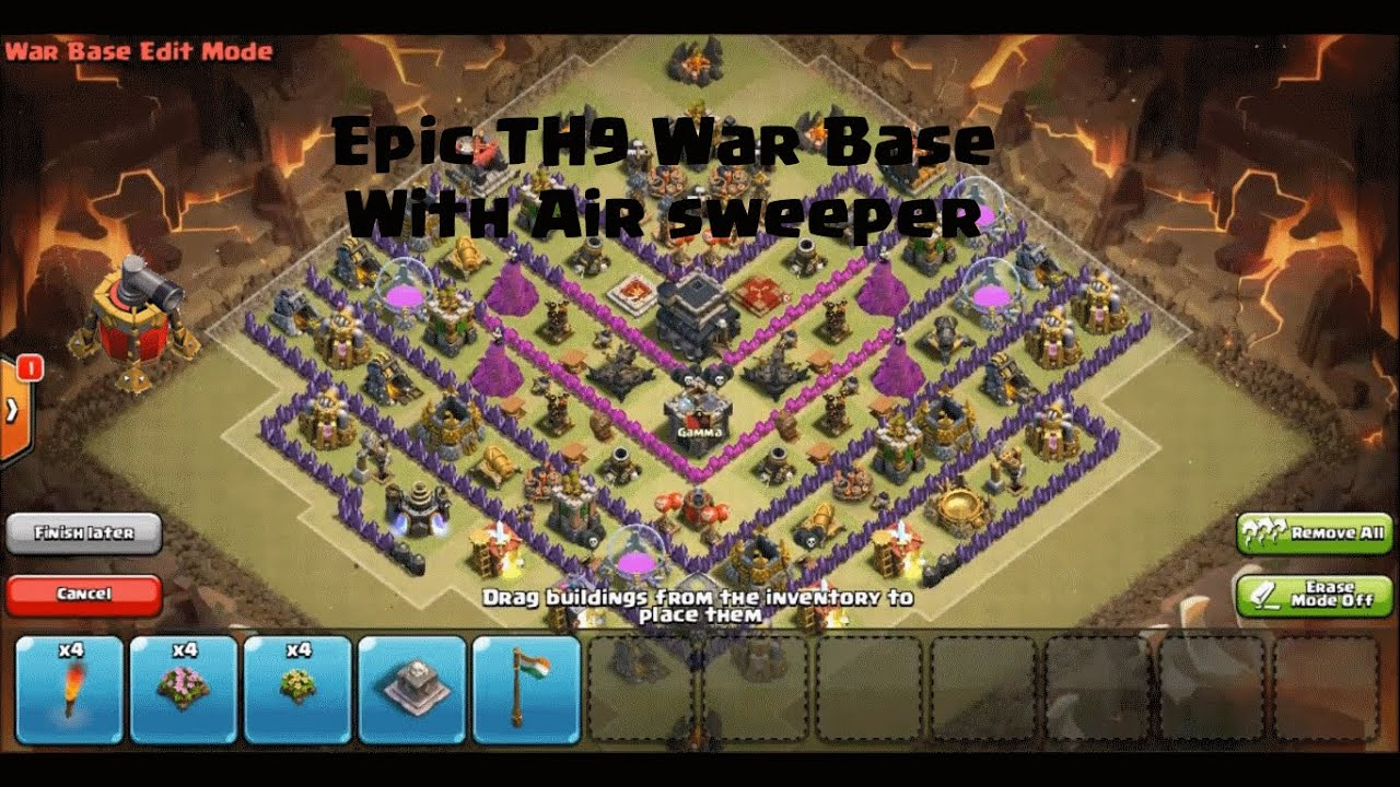 Clash of clans new th9 clan war trophy base air sweeper defense