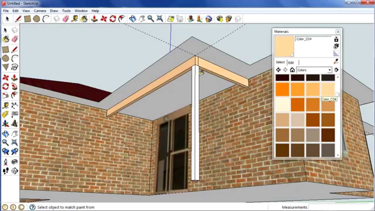 Sketchup house: Step 6 cleaning up and adding support for porch