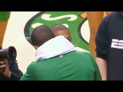 Kyrie Irving Hugs Isaiah Thomas  in Return to Boston After Celtics Beat Cavaliers