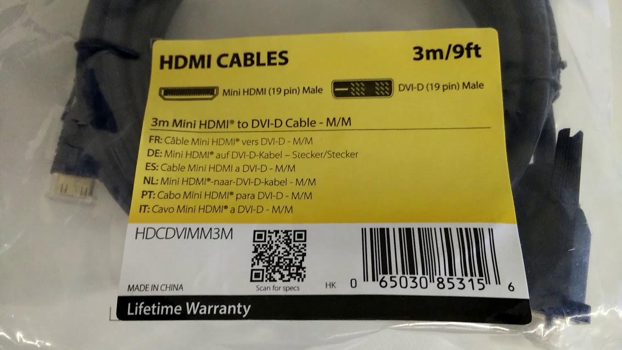 StarTech.com 3m Mini HDMI - DVI Kabel - YouTube