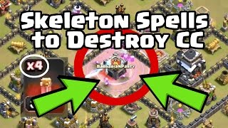 Using Skeleton Spells to Eliminate the Clan Castle   Clash of Clans War Strategy TH9-11