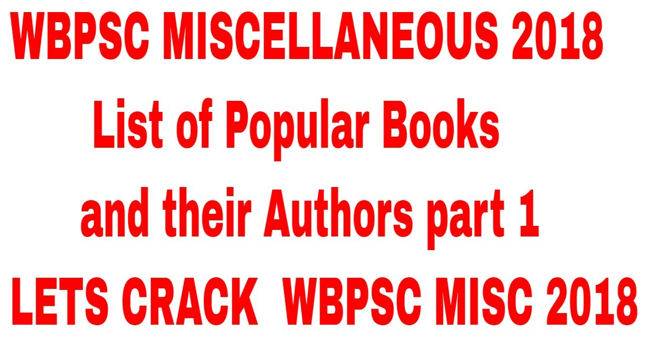 List Of Popular Books And Their Authors Part 1 Wbpsc Misc 2018