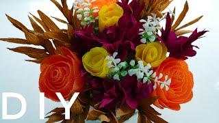 Цветы в коробке из гофрированной бумаги.Своими руками