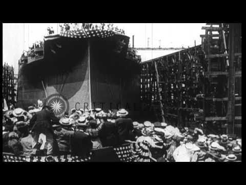 Launch of the USS Arizona Battleship (BB-39) from the Brooklyn Navy Yard in Brook...HD Stock Footage