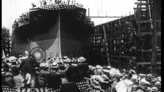 Launch of the USS Arizona Battleship (BB-39) from the Brooklyn Navy Yard in Brook...HD Stock Footage