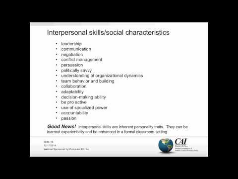 The Socially Emerging Project Manager: High Impact Interpersonal Skills, Their Attributes, and Using